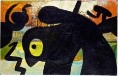 Joan Miró, Figure, birds, 1973. Olja på duk, 45 x 71 cm. Privat samling. © Successió Miró, 2017