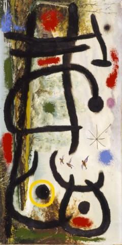 Joan Miró, Flight of ducks, woman, star, 1965. Olja på duk, 100 x 50 cm. Privat samling. © Successió Miró, 2017.