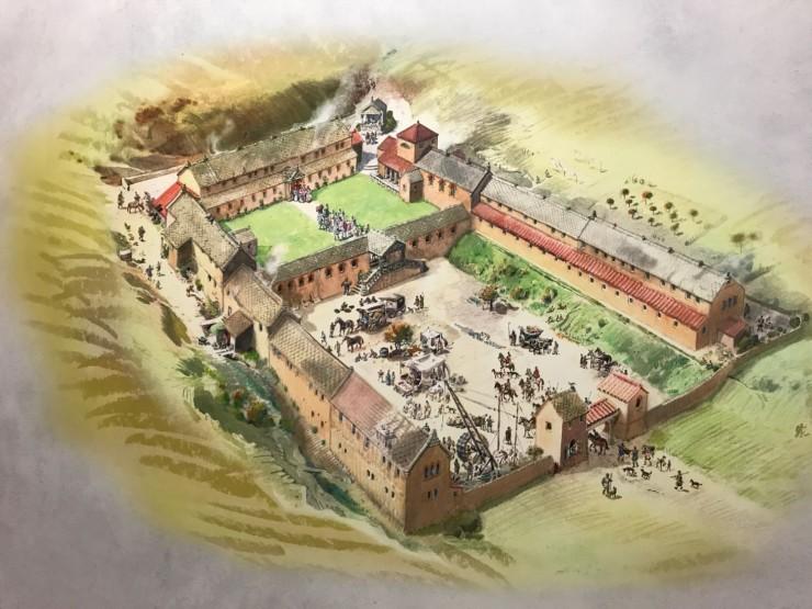 Slik mener arkeologene at villaen har sett ut på 300-tallet. Foto: © ReisDit.no