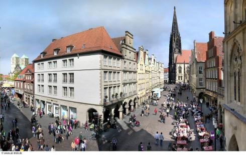 Münster, Tyskland, Vest-Tyskland, Westfalen, Prinzipalmarkt, middelalder, Freden i Westfalen, Friedenssal, anabaptistene, LWL Museum Münster, Thürmerin, Dom St. Paul, Lamberti-kirche