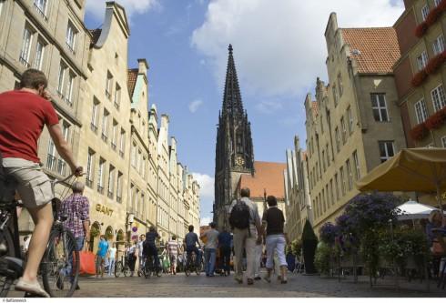 Münster, Tyskland, Vest-Tyskland, Westfalen, Prinzipalmarkt, middelalder, Freden i Westfalen, Friedenssal, anabaptistene, LWL Museum Münster, Thürmerin, Lamberti-kirche