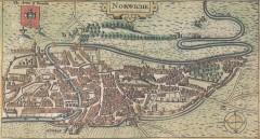 Kart over Norwich i middelalderen, etter år 1340 - bymurene er på plass. Kilde: Wikipedia