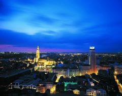 Panorama, natt, Antwerpen, Flandern, Belgia