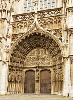 portal, katedral, Grote Markt, Antwerpen, Flandern, Belgia