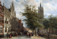 Cornelis Springer, Gemeenlandshuis, Oude Kerk, Delft, Zuid-Holland, Sør-Nederland, Nederland