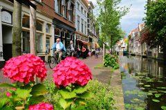 Voldersgracht, kanal, Delft, Zuid-Holland, Sør-Nederland, Nederland