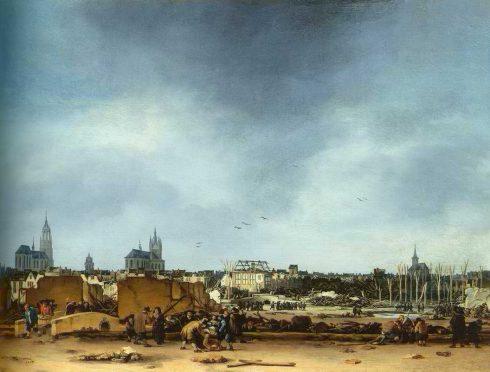Eksplosjonen i år 1654. Maleri av Egbert van der Poel. Delft, Zuid-Holland, Sør-Nederland, Nederland