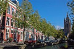 Oude Kerk, kanal, Delft, Zuid-Holland, Sør-Nederland, Nederland