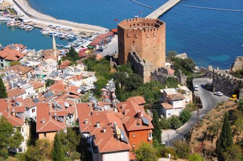 """Kizil Kule, """"det røde tårnet"""", Alanya, Middelhavskysten, Tyrkia"""