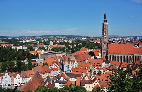 St Martin, Landshut, Bayern, Altstadt, Neustadt, barokk, Historisk, Middelalder, Markt, Burg Trausnitz, Sør-Tyskland, Tyskland