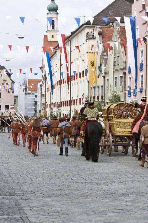 Landshuter Fürstenhochzeit, Landshut, Bayern, Altstadt, Neustadt, barokk, Historisk, Middelalder, Markt, Burg Trausnitz, Sør-Tyskland, Tyskland
