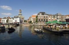 Kanaler, bootterrasses, Leiden, Zuid-Holland, Sør-Nederland, Nederland