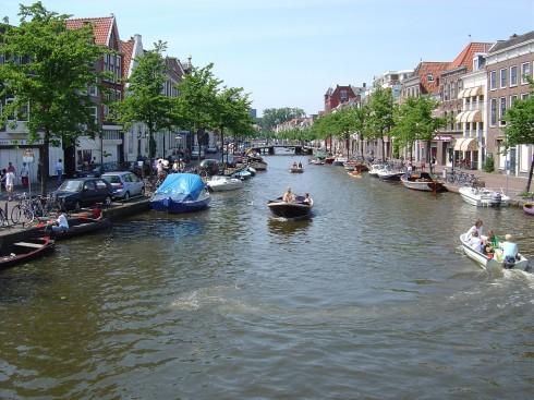 Oude Rijn, Rhinen, Leiden, Zuid-Holland, Sør-Nederland, Nederland