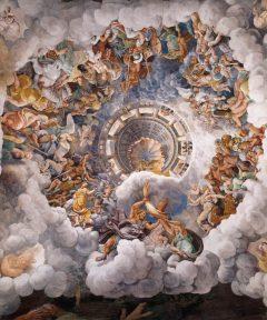 Giulio Romano, Palazzo Tè, taket i Sala dei Giganti, Mantova, Lombardia, Nord-Italia, Italia
