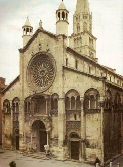 Duomo, vestfasade, dødsengel, Modena, Emilia Romagna, Nord-Italia, Italia