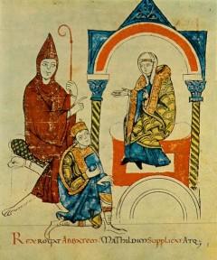 Hugo av Cluny, keiser Henrik IV og Mathilda av Canossa, Modena, Emilia Romagna, Nord-Italia, Italia