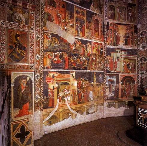 Fresker av Bartolini de'Grossi fra San Sebastianos liv, duomo, Parma, Emilia Romagna, Nord-Italia, Italia