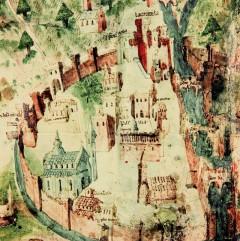 Middelalderbyen Parma avbildet på pergament cirka år 1460, Parma, Emilia Romagna, Nord-Italia, Italia