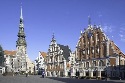 Rådhusplass, Rådhuset, Svarthodenes hus, Riga, gamleby, Unesco Verdensarven, Latvia, Baltikum