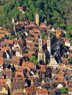 Fransiskanerkirche, St Jacobskirche, Rothenburg ob der Tauber, Bayern, Sør-Tyskland, Tyskland
