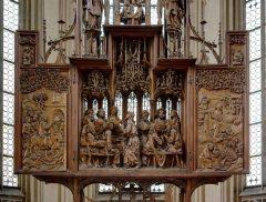 Heilig-Blut-Altar von Tilmann Riemenschneider in der St. Jakobs Kirche, Rothenburg ob der Tauber, Bayern, Sør-Tyskland, Tyskland