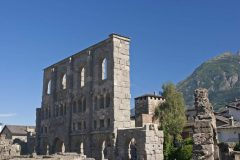 Romersk teater, Aosta, Valle d'Aosta, Nord-Italia, Italia