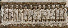 Besrelief, figurfrise, portalen til St Tropheme, Unesco, Verdensarv, Arles, Provence, Sør-Frankrike, Frankrike