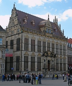 Huset Schütting, kjøpmannslaugets møtested, Bremen, Unesco, Altstadt, Historisk,Middelalder, Marktplatz, Nord-Tyskland, Tyskland
