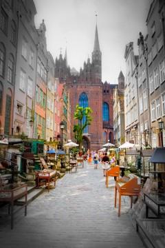 Mariacka, Gdansk, gamlebyen Stare Miasto, nybyen Glowne Miasto, markedsplass en Dlugi Targ, Ulica Dluga, historisk bydel, middelalder,  Nord-Polen, Polen