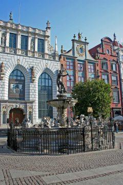 Neptun-fontenen, Gdansk, gamlebyen Stare Miasto, nybyen Glowne Miasto, markedsplass en Dlugi Targ, Ulica Dluga, historisk bydel, middelalder,  Nord-Polen, Polen