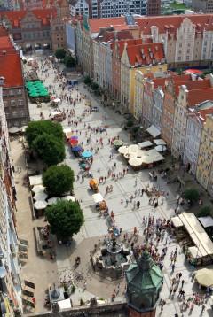 Gdansk, gamlebyen Stare Miasto, nybyen Glowne Miasto, markedsplass en Dlugi Targ, Ulica Dluga, historisk bydel, middelalder,  Nord-Polen, Polen