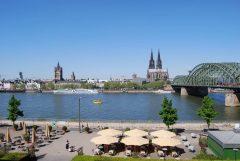 Rheinpromenade, Altstadt, Köln, Nordrhein-Westfalen, Vest-Tyskland, Tyskland