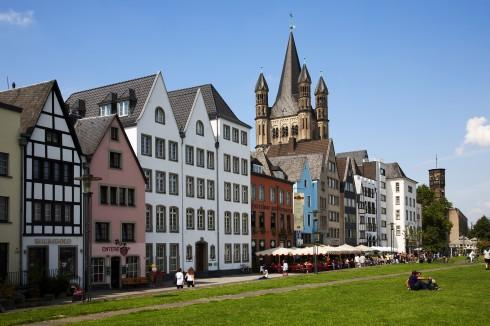 Altstadt, Martinsviertel rundt den romanske kirken Gross St. Martin, Köln, Nordrhein-Westfalen, Vest-Tyskland, Tyskland