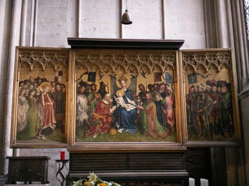 Stephan Lochners triptych kalt De hellige tre konger, Köln, Nordrhein-Westfalen, Vest-Tyskland, Tyskland