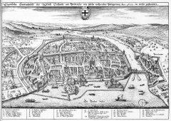 Merians oversiktstegning av Konstanz fra år 1633, Konstanz, Bodensee, Sør-Tyskland, Tyskland