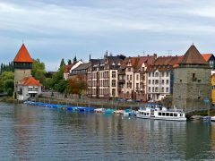 Rhinen, Middelalder, Konstanz, Bodensee, Sør-Tyskland, Tyskland