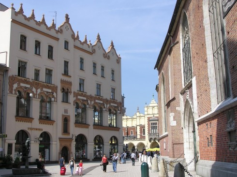 Mariacka-plassen, Santa Maria-kirken, Krakow, Unesco Verdensarv, gamlebyen Stare Miasto, historisk bydel, middelalder, markedsplass Rynek Glowny, Sør-Polen, Polen