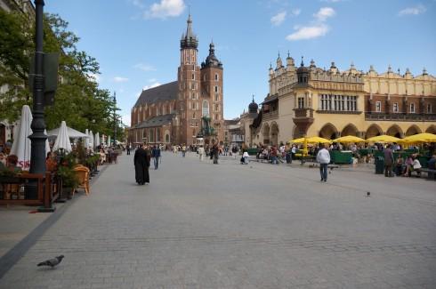 Sukiennice, Basilica Santa Maria, Krakow, Unesco Verdensarv, gamlebyen Stare Miasto, historisk bydel, middelalder, markedsplass Rynek Glowny, Sør-Polen, Polen