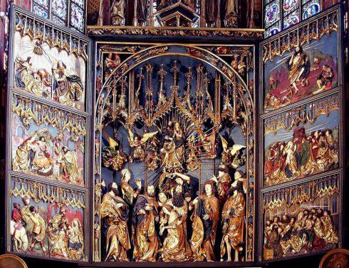 Basilika Santa Maria, Veit Stoss, triptych, Krakow, Unesco Verdensarv, gamlebyen Stare Miasto, historisk bydel, middelalder, markedsplass Rynek Glowny, Sør-Polen, Polen