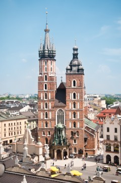 Basilica Santa Maria, Krakow, Unesco Verdensarv, gamlebyen Stare Miasto, historisk bydel, middelalder, markedsplass Rynek Glowny, Sør-Polen, Polen