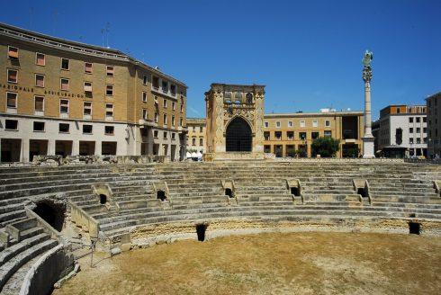 amfiteateret fra romertiden, keiser Hadrian, Lecce, Puglia, Sør-Italia, Italia