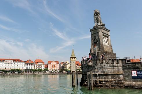 den bayerske løven, havnen, Historisk, Lindau, Bodensee, Sør-Tyskland, Tyskland
