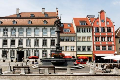 Marktplatz, Historisk, Lindau, Bodensee, Sør-Tyskland, Tyskland