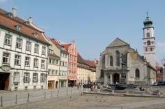 St Mariakirken, Marktplatz, Altstadt, Historisk, Lindau, Bodensee, Sør-Tyskland, Tyskland