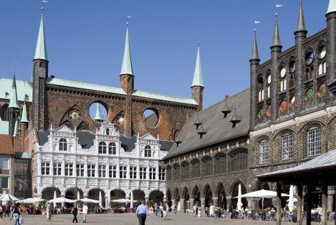 Rathaus, Hansestadt Lübeck, Schleswig-Holstein, Hansaforbundet, Unesco Verdensarv, Altstadt, Historisk, Middelalder, Markt, Nord-Tyskland, Tyskland