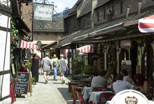 Handwerkergasse, Nürnberg, Bayern, Unesco Verdensarv, Altstadt, Historisk, Middelalder, Marktplatz, Sør-Tyskland, Tyskland