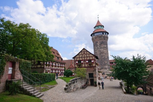 Kaiserburg med det runde Sinwellturm, Nürnberg, Bayern, Unesco Verdensarv, Altstadt, Historisk, Middelalder, Marktplatz, Sør-Tyskland, Tyskland