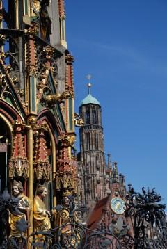 Schöne Brunnen, Nürnberg, Bayern, Unesco Verdensarv, Altstadt, Historisk, Middelalder, Hauptmarkt, Sør-Tyskland, Tyskland