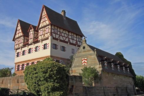 Schloss Neunhof, Germanisches Nationalmuseum, Nürnberg, Bayern, Unesco Verdensarv, Altstadt, Historisk, Middelalder, Marktplatz, Sør-Tyskland, Tyskland