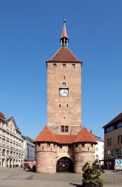 Weisser Turm fra 1200-tallet, Nürnberg, Bayern, Unesco Verdensarv, Altstadt, Historisk, Middelalder, Hauptmarkt, Sør-Tyskland, Tyskland